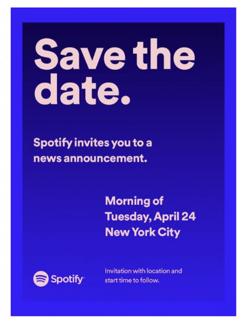 Spotify Invitatie 24 aprilie - sursa: CNet.com