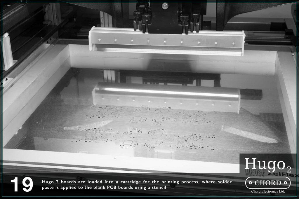 Placile Hugo 2 sunt incarcate intr-un cartus pentru procedeul de print unde pasta de lipit este aplicata circuitelor imprimate cu ajutorul unui sablon.