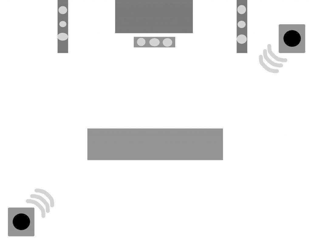 Varianta 1 - Pe diagonala, una in colt dreapta sus, alta in stanga jos (sau invers)