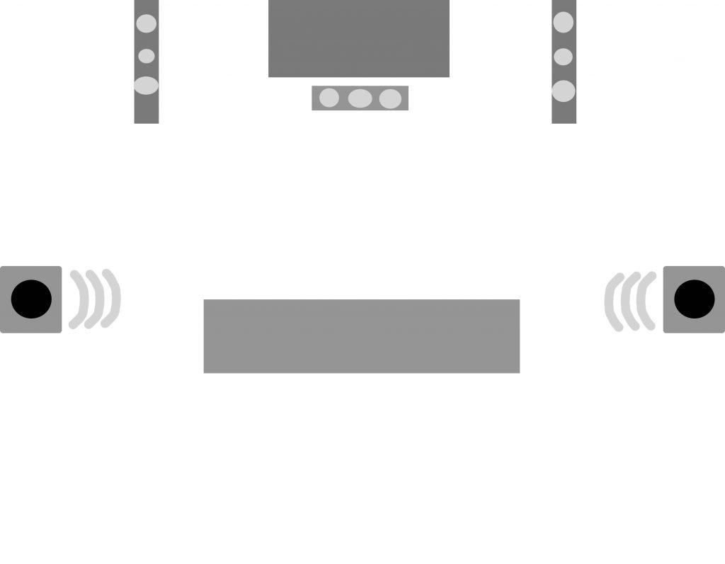 Varianta 2 - Pe milocul pereteilor din stanga-dreapta